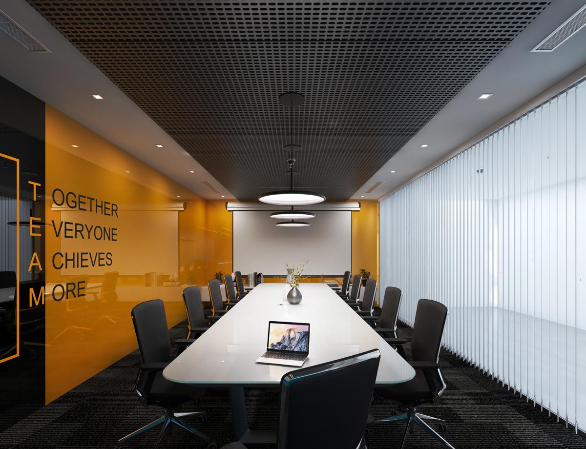 Phòng họp của công ty NHS Office cũng được thiết kế tấm kính và thêm đèn chiếu sáng phù hợp (thiết kế bởi ARC DECOR)