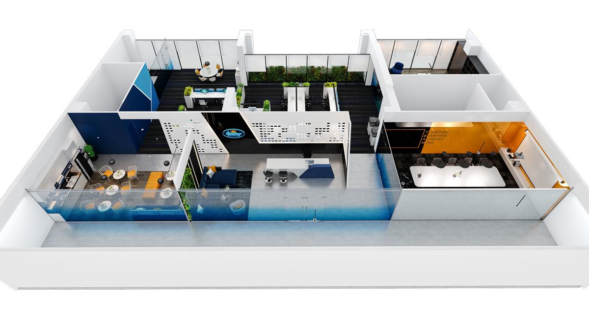 Bố cục văn phòng làm việc của NHS Office (thiết kế bởi ARC DECOR)