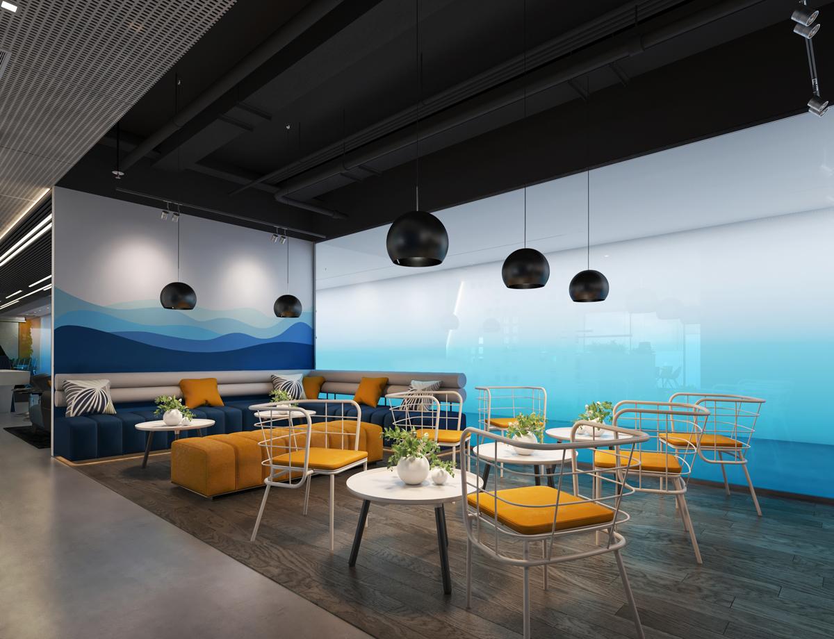 Phòng nghỉ trưa được thiết kế theo gam màu logo của NHS Office (thiết kế bởi ARC DECOR)