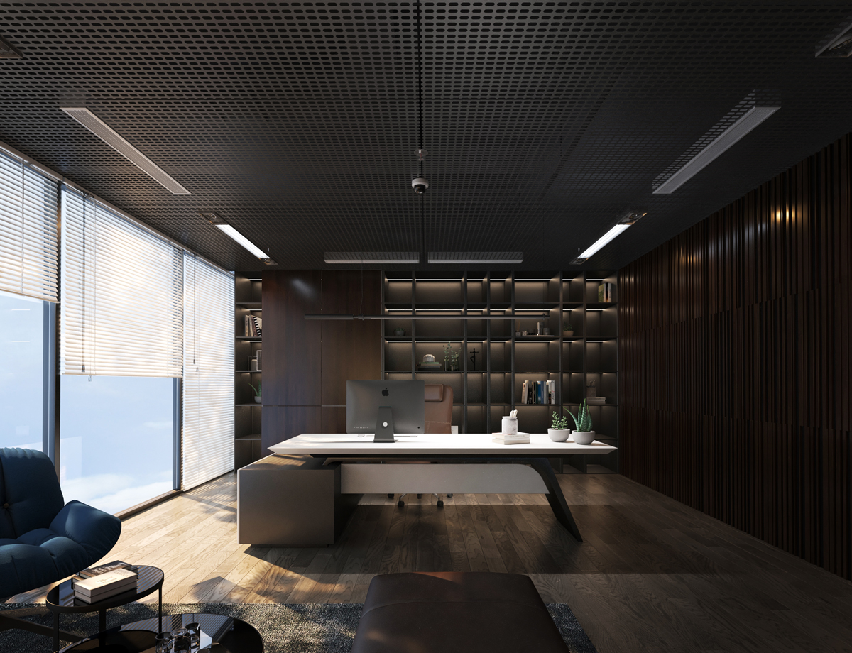 Phòng Giám Đốc được thiết kế chủ yếu bằng gỗ tạo sự uy nghiêm cho người lãnh đạo NHS Office (thiết kế bởi ARC DECOR)